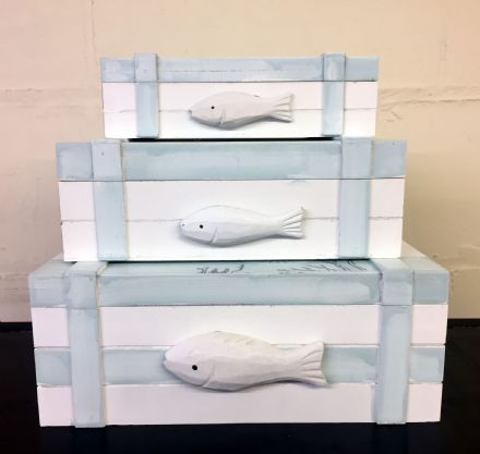 Fish Wooden Nautical Distressed Storage Boxes ~ Set of 3